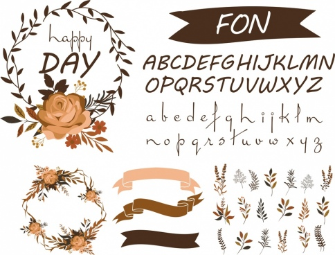 card design elements calligraphy ribbon flowers icons