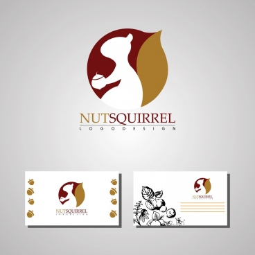 card design template nuts squirrel logotype