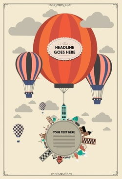 card design with flying balloons in vintage style