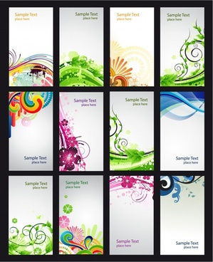 card cover templates modern abstract curves decor