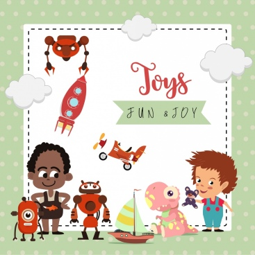 card template baby theme children toys icons decor