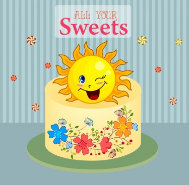 card template cake stylized sun icons flowers decor