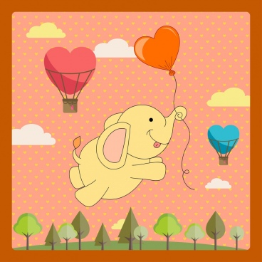 card template cute baby elephant balloon decor