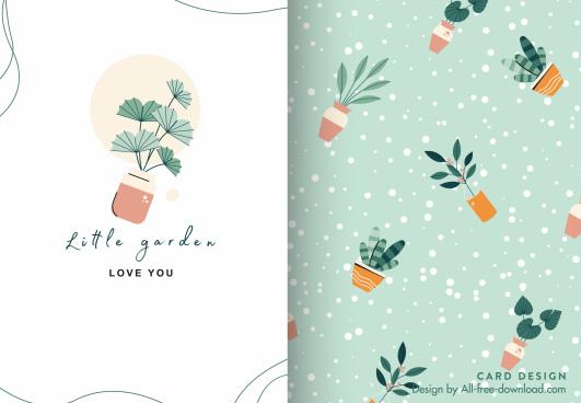 card template cute flat houseplants decor