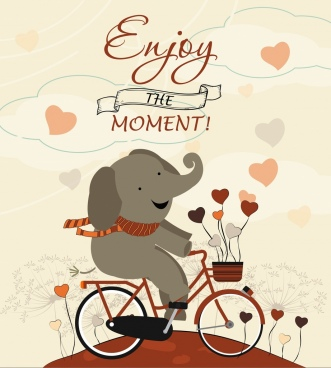 card template cute stylized elephant bicycle icons decoration