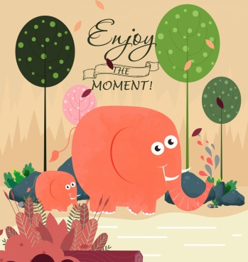 card template elephant trees decor cute cartoon design