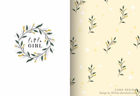 card template floral wreath decor elegant cute design