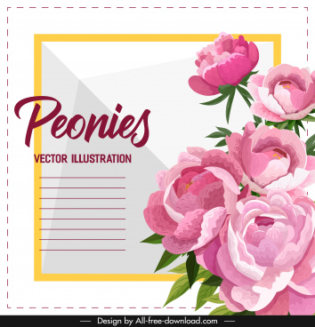 card template peonies decor colorful classical design