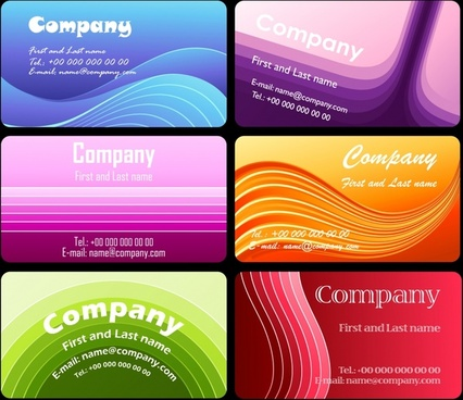 business card templates colorful dynamic curves decor