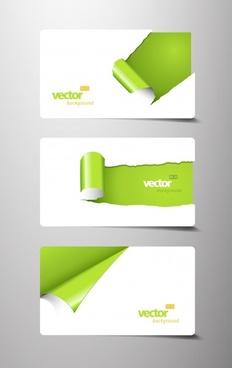 card template vector tear marks