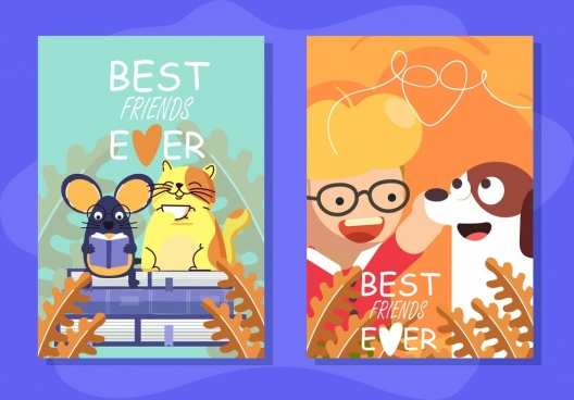 card templates friendship theme human animals icons