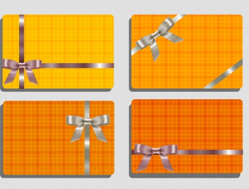 card templates gift knot icon orange decor