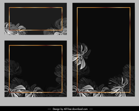 card templates natural leaves decor dark elegance