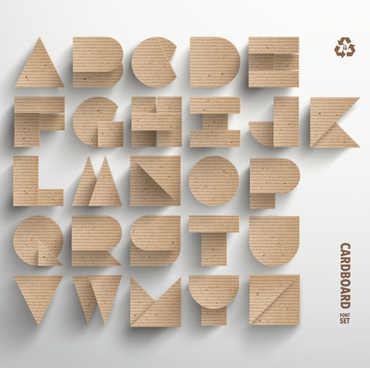 cardboard alphabet creative design vector
