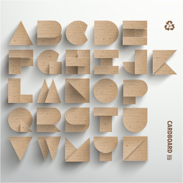 cardboard alphabet design vector