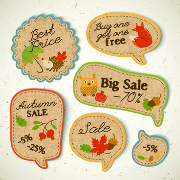 cardboard autumn sale labels vector