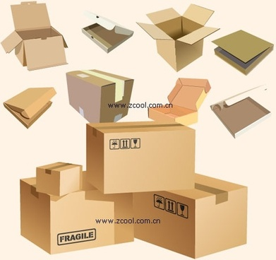 cardboard boxes blank vector