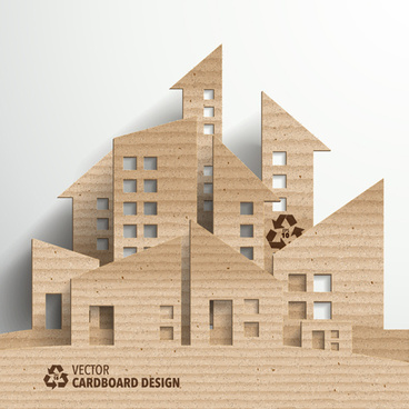 cardboard city building design vector