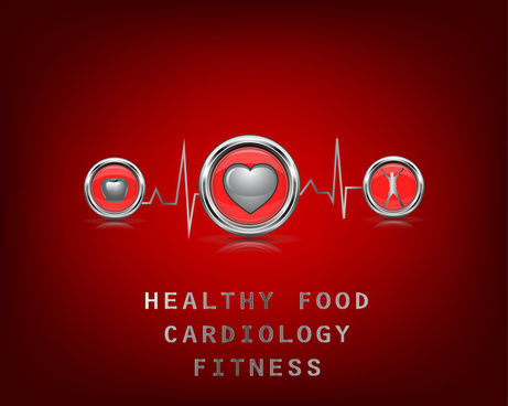 cardiology fitness promotion banner with cardiogram illustration
