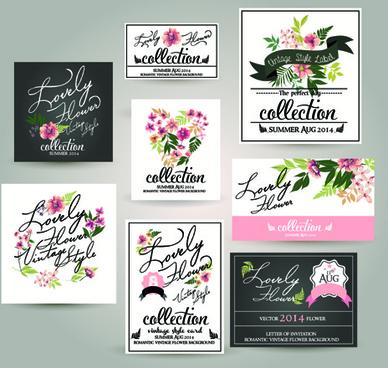 cards with elegant flower vector set