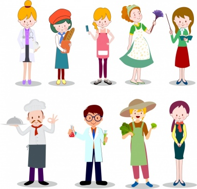 career icons collection colored cartoon characters