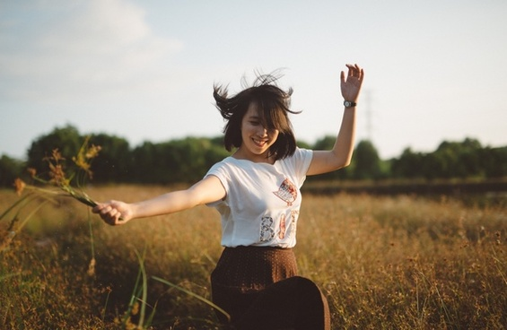 carefree child female field freedom fun girl grass