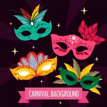 carnival background feather masks icons decor