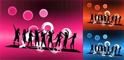 carnival characters in silhouette vector