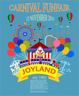 carnival funfair poster with clown and balloons illustration