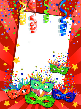 carnival night background with mask vector