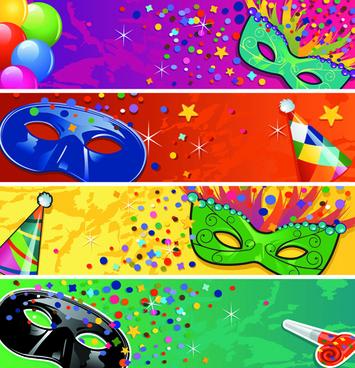 carnival night mask banner vector