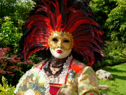 woman with elegant traditional mask