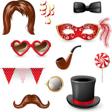 carnival ornaments design vector set