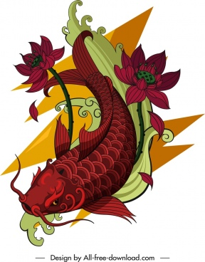 carp icon lotus decor colored tattoo sketch