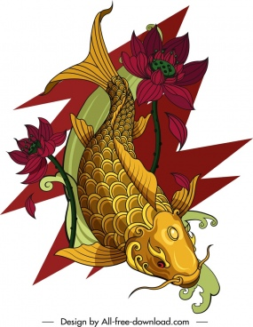 carp painting colorful oriental decor