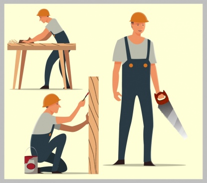 carpenter icons working male icon various gestures isolation
