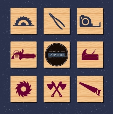 carpenter tools collection various flat symbols decoration