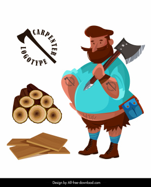 carpenter work icons lumberjack wood plank sketch
