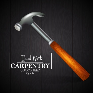 carpentry advertisement hammer icon decoration 3d dark design