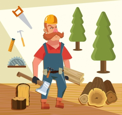 carpentry job background man tool icons colored cartoon