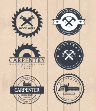 carpentry logotypes flat circles decoration tools icons