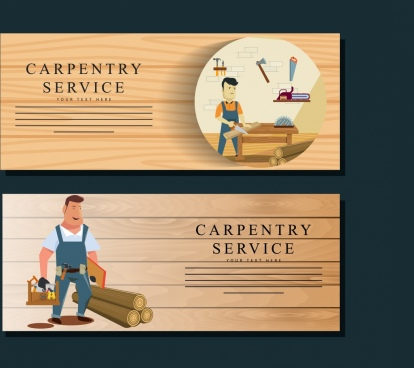 carpentry service banner templates male icon wooden background