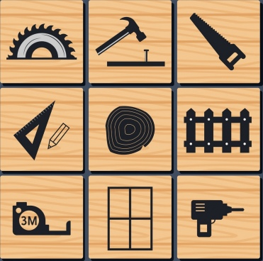 carpentry tools icons isolation flat silhouette design