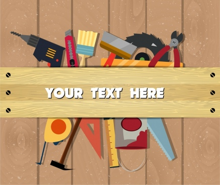 carpentry work background various colored emblems decor