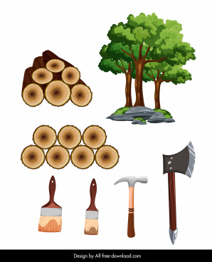 carpentry work design elements tree log tools sketch