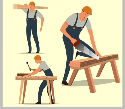 carpentry work icons male worker various gestures isolation