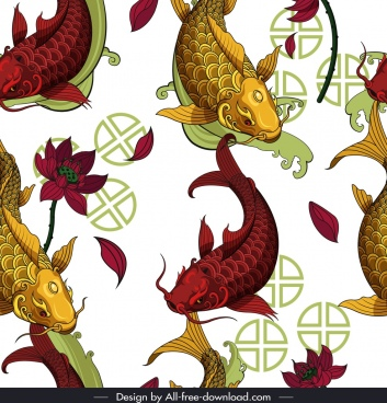 carps pattern colorful oriental decor repeating sketch