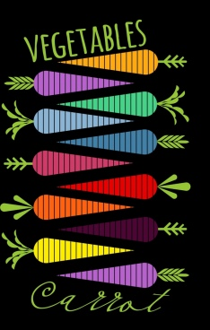carrot background multicolored flat design dark striped style