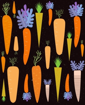 carrot background various multicolored icons repeating design