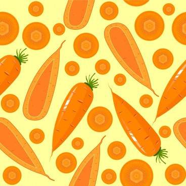 carrot background various slices icons repeating design